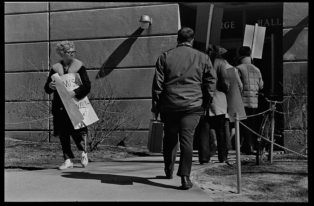 Madison, WI - March 1970. On March 15, 1970, the University of Wisconsin - Madison Teaching Assistants' Association voted to strike, and the campus was filled with picket lines as well as demonstrations of related and other issues. The strike lasted until early April, when the Association and University came to an agreement. Strikers with signs outside Birge Hall.