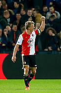 17-12-2015 VOETBAL: KNVB BEKER: FEYENOORD- WILLEM II: ROTTERDAM<br /> <br /> Dirk Kuyt van Feyenoord viert zijn doelpunt vlak voor tijd met het publiek en gebalde vuist<br /> <br /> Foto: Geert van Erven
