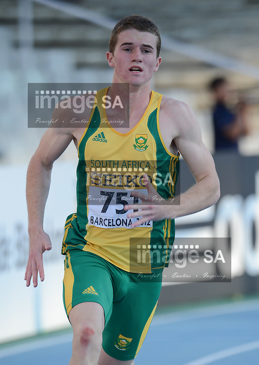 BARCELONA, Spain: Wednesday 11 July 2012, Pieter Conradie of South Africa in the mens 400m semi final during the afternoon session of day 2 of the IAAF World Junior Championships at the Estadi Olimpic de Montjuic..Photo by Roger Sedres/ImageSA