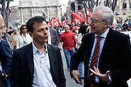 Roma 25 Aprile 2012.Corteo per anniversario della liberazione dal Nazifascismo..Stefano Fassina e Guglielmo Epifani del Partito Democratico