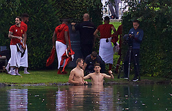 ROTTACH-EGERN, GERMANY - Thursday, July 27, 2017: Liverpool players goalkeeper Simon Mignolet and Marko Grujic cool off in after training in Lake Tegernsee outside Seehotel Uberfahrt on day two of their preseason training camp in Germany. (Pic by David Rawcliffe/Propaganda)