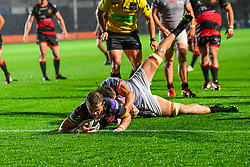 Dragons' Hallam Amos scores a try - Mandatory by-line: Craig Thomas/JMP - 30/09/2017 - RUGBY - Rodney Parade - Newport, Gwent, Wales - Newport Gwent Dragons v Southern Kings - Guinness Pro 14