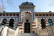 """GEORGES LABIT MUSEUM, TOULOUSE, FRANCE - MARCH 03 - EXCLUSIVE : A low angle view of the museum entrance on March 3, 2009 in the Georges Labit Museum, Toulouse, France. Founded by Georges Labit in the 19th century, the museum is housed in a moorish building near the Canal du Midi (French Midi Canal) and preserves the most important collection of Asian Art after the Guimet Museum in Paris. Since 1949, it also preserves an Egyptian mummy arrived in Toulouse in 1849, encased in a sarcophagus labelled """"In-Imen"""" from the 7th or 8th century BC. The mysterious mummy is now the subject of a very rare tissue sampling operation to determine its datation.  (Photo by Manuel Cohen)"""