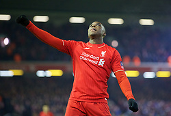 LIVERPOOL, ENGLAND - Wednesday, January 20, 2016: Liverpool's Sheyi Ojo celebrates scoring the second goal against Exeter City during the FA Cup 3rd Round Replay match at Anfield. (Pic by David Rawcliffe/Propaganda)