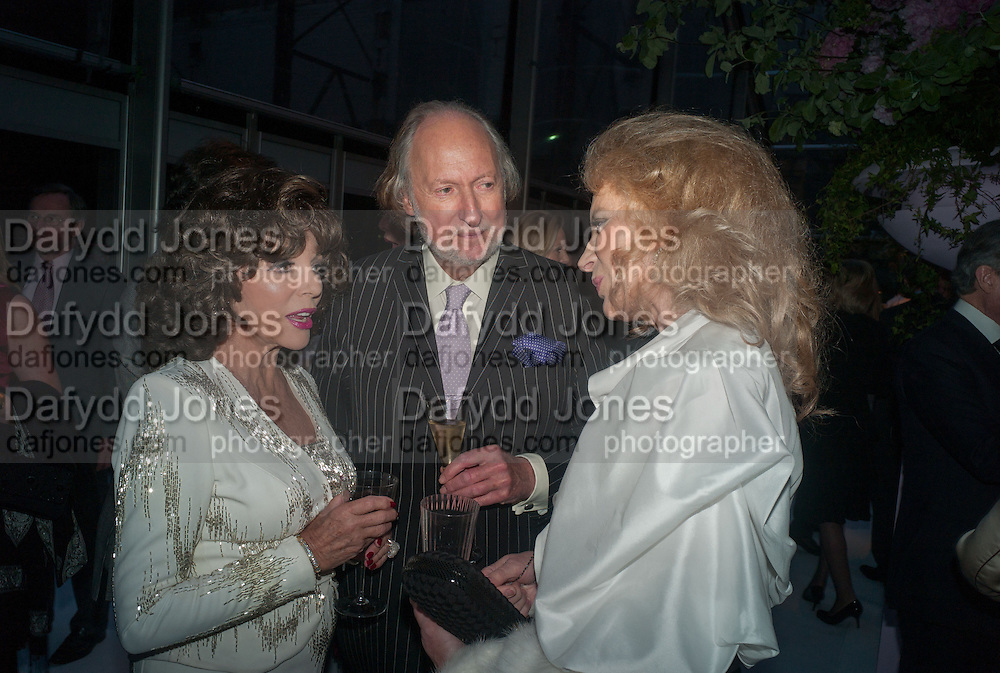 JOAN COLLINS; ED VICTOR; PRINCESS MICHAEL OF KENT, CARTIER CHELSEA FLOWER SHOW DINNER Dinner hosted by Cartier in celebration of the Chelsea Flower Show was held at Battersea Power Station. 22 May 2012