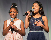 Law Elementary School students Jada Harrell and Tiffany Zepada comment during the State of the Schools luncheon at the Hilton of the Americas, February 15, 2017.