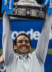 April 29, 2018 - Barcelona, Catalonia, Spain - RAFAEL NADAL of Spain raises the trophy for his 11th title at the 'Barcelona Open Banc Sabadell' after winning the final against S. Tsitsipas. Nadal won 6:2, 6:1 (Credit Image: © Matthias Oesterle via ZUMA Wire)