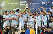 Racing 92 match captain, Francois Van Der Merwe, holds the Natives cup aloft.The Racing 92 team on the podium to receive the winners cup following the Natixis Cup rugby match between French team Racing 92 and New Zealand team Otago Highlanders at Sui San Wan Stadium in Hong Kong