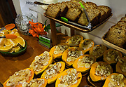 Eat healthy papaya boats and banana bread for breakfast at Volcano Inn, on the Big Island, Hawaii, USA. Address: 19-3820 Old Volcano Rd, Volcano, HI 96785