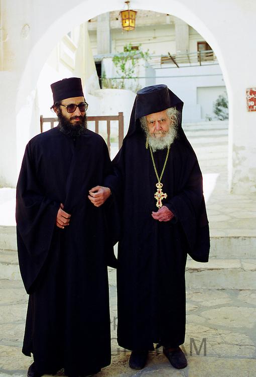 Orthodox monks at St Catherine's Monastery in Sinai Desert in Egypt