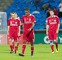 AALBORG, DENMARK - Saturday, June 11, 2011: Denmark's Mathias Zanka Jorgensen (FC København) looks dejected after his side's 1-0 defeat by Switzerland during the UEFA Under-21 Championship Denmark 2011 Group A match at the Aalborg Stadion. (Photo by Vegard Grott/Propaganda)