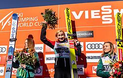 10.03.2019, Holmenkollen, Oslo, NOR, FIS Weltcup Skisprung, Raw Air, Oslo, Schisprung, Einzelbewerb, Damen, Siegerehrung, im Bild 2. Platz Juliane Seyfarth (GER), Siegerin Daniela Iraschko-Stolz (AUT), 3. Platz Katharina Althaus (GER) // 2nd placed Juliane Seyfarth of Germany Winner Daniela Iraschko-Stolz of Austria 3rd placed Katharina Althaus of Germany during the winner Ceremony for the ladie's individual competition of the Raw Air Series of FIS Ski Jumping World Cup at the Holmenkollen in Oslo, Norway on 2019/03/10. EXPA Pictures © 2019, PhotoCredit: EXPA/ JFK