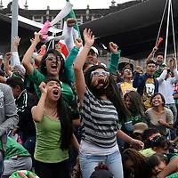 Toluca, México.- Miles de aficionados al futbol acudieron a la Plaza de los Mártires para vivir con pasión, alegría, tristeza y enojo el partido entre la Selección de México y su homologa de Holanda, durante el partido de Octavos de final del Mundial de Brasil 2014, con gran nerviosismo vivieron los 90 minutos del encuentro, en donde al final México quedara fuera del sueño mundialista. Agencia MVT / Crisanta Espinosa
