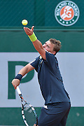 Marcin Matkowski from Poland competes in men's doubles first round while Day Fourth during Roland Garros 2014 at Roland Garros Tennis Club in Paris, France.<br /> <br /> France, Paris, May 28, 2014<br /> <br /> Picture also available in RAW (NEF) or TIFF format on special request.<br /> <br /> For editorial use only. Any commercial or promotional use requires permission.<br /> <br /> Mandatory credit:<br /> Photo by &copy; Adam Nurkiewicz / Mediasport