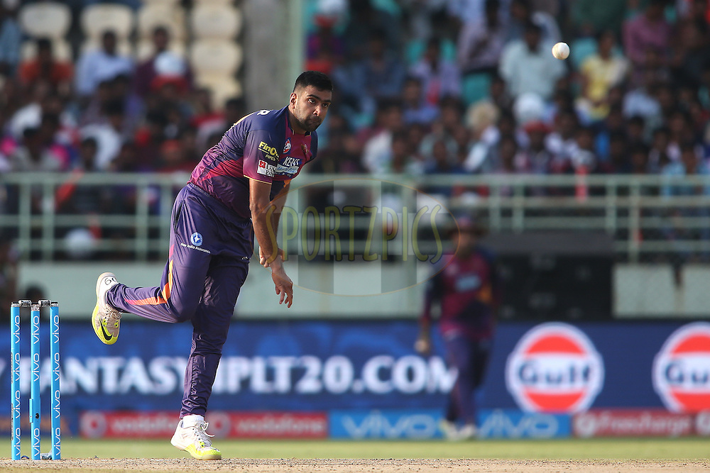 Ravichandran Ashwin of Rising Pune Supergiants sends down a delivery during match 53 of the Vivo IPL 2016 (Indian Premier League) between Rising Pune Supergiants and the Kings XI Punjab held at the ACA-VDCA Stadium, Visakhapatnam on the 21st May 2016<br /> <br /> Photo by Shaun Roy / IPL/ SPORTZPICS