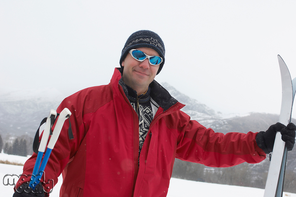 Smiling Man Ready to Go Cross-country Skiing