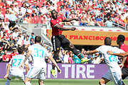 Manchester United Forward Romelu Lukaku jumps for a header during the AON Tour 2017 match between Real Madrid and Manchester United at the Levi's Stadium, Santa Clara, USA on 23 July 2017.
