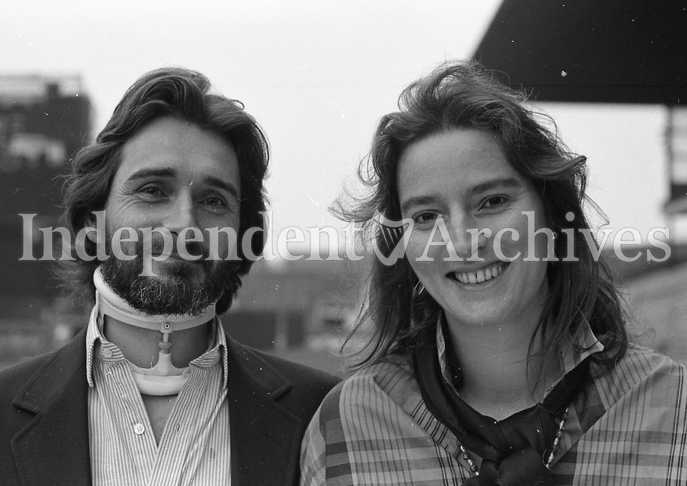 Lord Henry Mountcharles and Lady Iona Mountcharles, pictured surveying Croke Park as the Simple Minds concert crew prepared for the evening's show. 27/6/86. (Part of the Independent Newspapers Ireland/NLI Collection)