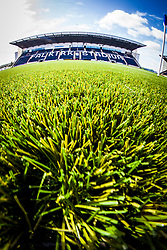 A fish-eye lens view of the new plastic pitch with the main stand in the background at The Falkirk Stadium, for the Scottish Championship game v Hamilton. The woven GreenFields MX synthetic turf and the surface has been specifically designed for football with 50mm tufts compared with the longer 65mm which has been used for mixed football and rugby uses.  It is fully FFA two star compliant and conforms to rules laid out by the SPL and SFL.<br />
