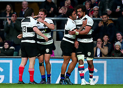 George Bridge of Barbarians and Steven Luatua of Barbarians celebrate with teammates after scoring and creating a try - Mandatory by-line: Robbie Stephenson/JMP - 04/11/2017 - RUGBY - Twickenham Stadium - London,  - Barbarians v All Blacks - Killik Cup