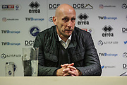 Jaap Stam (manager) of Reading post match interview after the EFL Sky Bet Championship match between Millwall and Reading at The Den, London, England on 26 September 2017. Photo by Toyin Oshodi.