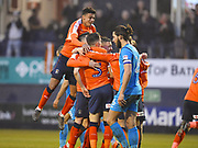 Luton Town players celebrate the first goal of the game in the second half during the EFL Sky Bet League 2 match between Luton Town and Barnet at Kenilworth Road, Luton, England on 24 March 2018. Picture by Ian  Muir.