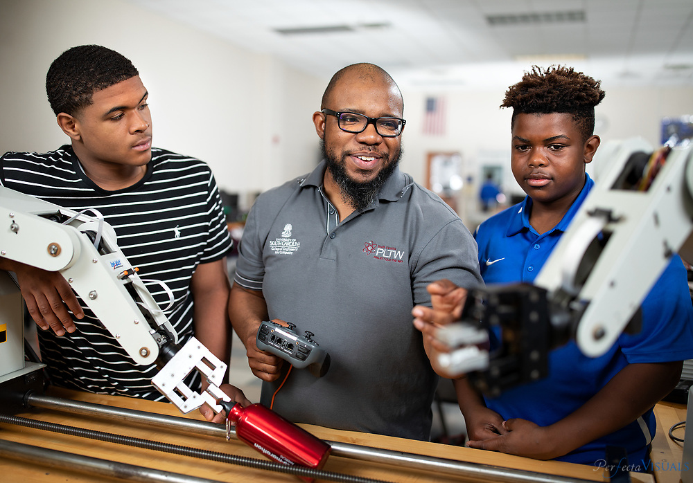 Dudley High School&rsquo;s Donald Sweeper teaches several Project Lead The Way courses, including Introduction to Engineering Design, Principles of Engineering, Environmental Sustainability and Engineering Design and Development.<br /> <br /> Students, left to right.<br /> <br /> Hezechiah Curtis 10th grade<br /> Barrett Crawford 10th grade<br /> <br /> Photographed, Wednesday, May 9, 2018, in Greensboro, N.C. JERRY WOLFORD and SCOTT MUTHERSBAUGH / Perfecta Visuals