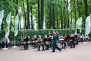 A band plays in the Summer Garden, Saint Petersburg, Russia