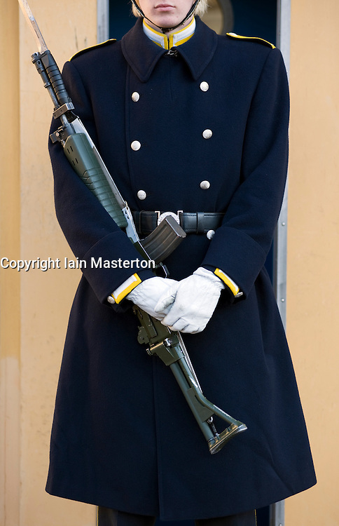 Detail of guard on duty outside Royal Palace in Gamla Stan Stockholm Sweden