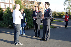 Ed Miliband MP, Leader of the Opposition with candidate Andy Sawford talk to residents of Great Oakley, Corby, Northamptonshire October 30, 2012.  Photo By Tim Scrivener / i-Images