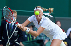 01.07.2014, All England Lawn Tennis Club, London, ENG, WTA Tour, Wimbledon, im Bild Petra Kvitova (CZE) during the Ladies' Singles Quarter-Final match on day eight // during the Wimbledon Championships at the All England Lawn Tennis Club in London, Great Britain on 2014/07/01. EXPA Pictures © 2014, PhotoCredit: EXPA/ Propagandaphoto/ David Rawcliffe<br /> <br /> *****ATTENTION - OUT of ENG, GBR*****