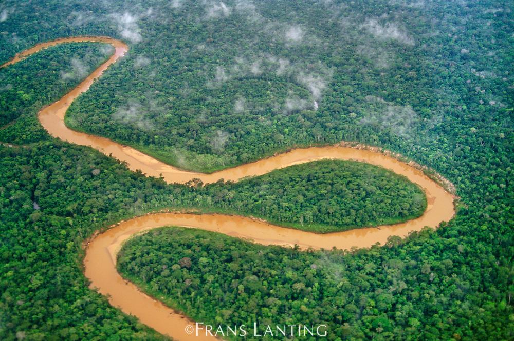 River winding through lowland rainforest (aerial), Tambopata Reserve, Peru