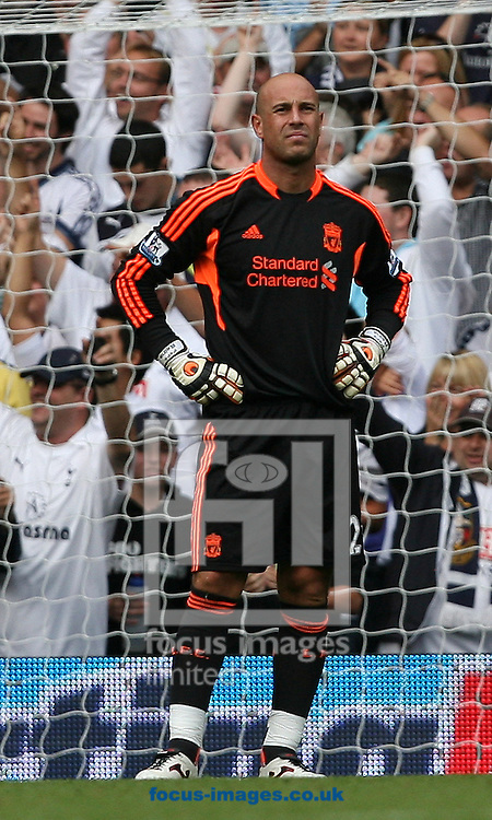 Picture by Paul Terry/Focus Images Ltd..18/9/11.Pepe Reina of Liverpool looks on after conceding a goal during the Barclays Premier League match at White Hart Lane stadium, London.