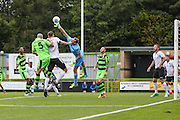 Bromley's goalkeeper Alan Julian(1) palms away a corner during the Vanarama National League match between Forest Green Rovers and Bromley FC at the New Lawn, Forest Green, United Kingdom on 17 September 2016. Photo by Shane Healey.
