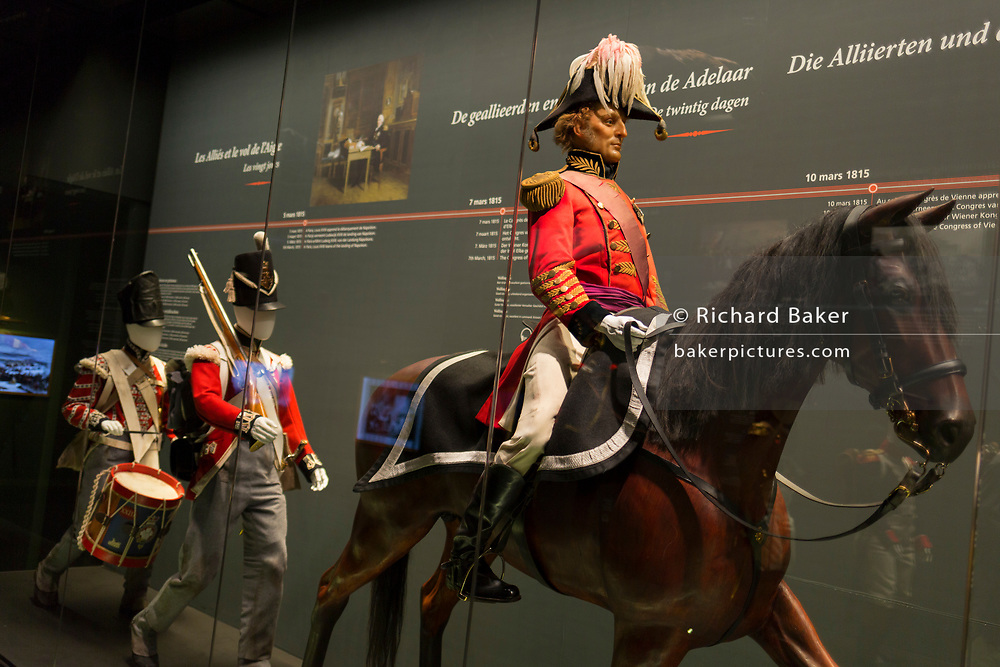 The Duke of Wellington sits on his horse, a waxwork exhibit inside the Memorial 1815 exhibition at the Waterloo battlefield, on 25th March 2017, at Waterloo, Belgium. Inaugurated on the battle's bicentenary, visitors experience the history of Napoleonic Europe and the armies of both the French and allied armies on that day. The Battle of Waterloo was fought 18 June 1815. A French army under Napoleon Bonaparte was defeated by two of the armies of the Seventh Coalition: an Anglo-led Allied army under the command of the Duke of Wellington, and a Prussian army under the command of Gebhard Leberecht von Blücher, resulting in 41,000 casualties.