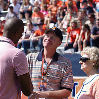 Kendall Gill visiting with Coach Mark Coomes at Memorial Stadium, Champaign, Illinois, September 15, 2012. George Strohl/AI Wire.