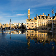 The Bradford City Park water feature, a £24 million pound project in Centenary Square, Bradford.