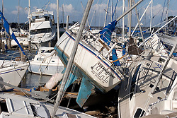 03 Oct, 2005.  New Orleans, Louisiana.  Hurricane Katrina aftermath.<br /> Smashed yachts at the Southern Yacht Club on the shores of Lake Pontchatrain in Lakeshore, New Orleans.<br /> Photo; ©Charlie Varley/varleypix.com