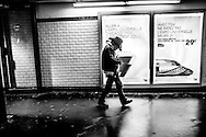 March 2015. Paris. a man goes out of a subway station.