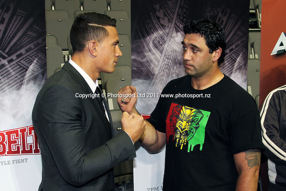 Sonny Bill Williams and Richard Tutaki. Richard Tutaki will fight Sonny Bill Williams in Hamilton NZ on the 8th Feb 2012. Claudelands Event Centre, Hamilton. 6 December 2011. Photo:Gordon Malcolm/photosport.co.nz