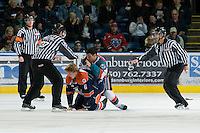 KELOWNA, CANADA, JANUARY 25: Tyrell Goulbourne #12 of the Kelowna Rockets gets in the face of Tyler Bell #6 of the Kamloops Blazers as the Kamloops Blazers visit the Kelowna Rockets on January 25, 2012 at Prospera Place in Kelowna, British Columbia, Canada (Photo by Marissa Baecker/Getty Images) *** Local Caption ***