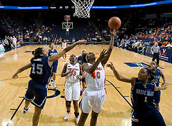 Virginia guard Enonge Stovall (40) shoots against Rhode Island.  The Virginia Cavaliers women's basketball team defeated the Rhode Island Rams 89-53 at the John Paul Jones Arena in Charlottesville, VA on January 9, 2008.