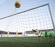 21st April 2018, Dens Park, Dundee, Scotland; Scottish Premier League football, Dundee versus St Johnstone; Sofien Moussa of Dundee wheels away to celebrate after scoring for 2-1