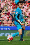 A dejected Jack Butland (Stoke City) looks on as he's unable to stop penalty kick during the Barclays Premier League match between Stoke City and Leicester City at the Britannia Stadium, Stoke-on-Trent, England on 19 September 2015. Photo by Aaron Lupton.