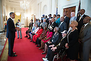 05.AUGUST.2013. WASHINGTON D.C.<br /> <br /> PRESIDENT BARACK OBAMA MEETS WITH FORMER NEGRO LEAGUE BASEBALL PLAYERS IN THE GRAND FOYER OF THE WHITE HOUSE<br /> <br /> BYLINE: EDBIMAGEARCHIVE.CO.UK<br /> <br /> *THIS IMAGE IS STRICTLY FOR UK NEWSPAPERS AND MAGAZINES ONLY*<br /> *FOR WORLD WIDE SALES AND WEB USE PLEASE CONTACT EDBIMAGEARCHIVE - 0208 954 5968*