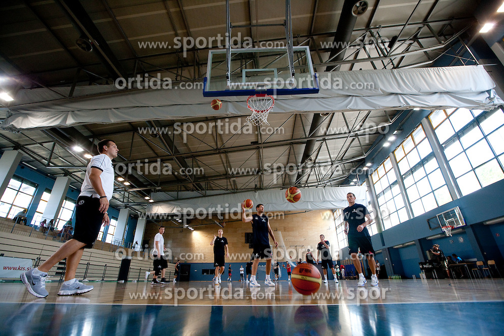 Aleksander Sekulic, Goran Jagodnik and Jaka Lakovic during media day at training camp of Slovenian National Basketball team for Eurobasket Lithuania 2011, on July 19, 2011, in Arena Ljudski vrt, Ptuj, Slovenia.  (Photo by Vid Ponikvar / Sportida)