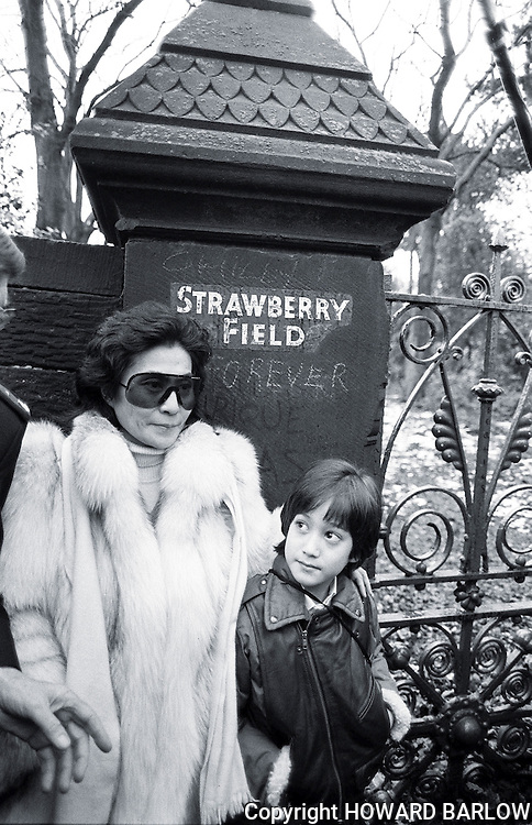 PHOTOGRAPH BY HOWARD. Yoko Ono and Sean Lennon on a visit to.Strawberry Field, Liverpool in 1984 after JOHN LENNON's death