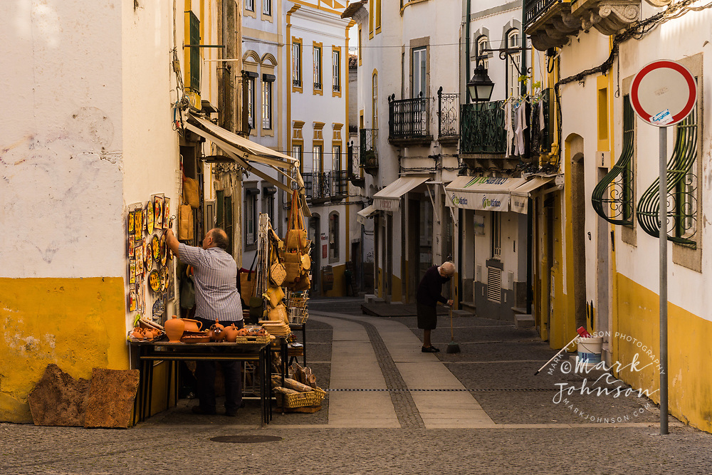 Shops selling local crafts, Evora, Portugal
