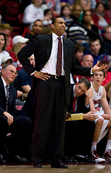 February 13, 2010; Stanford, CA, USA;  Stanford Cardinal head coach Johnny Dawkins during the first half against the Washington Huskies at Maples Pavilion. Washington defeated Stanford 78-61.