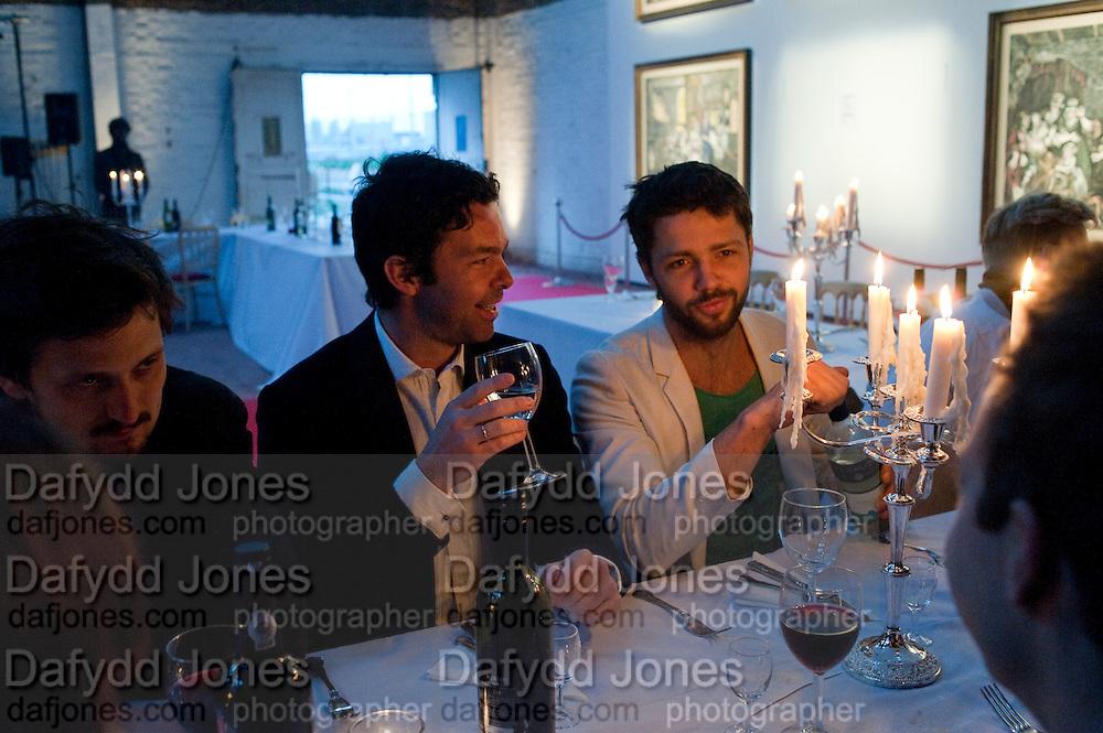 ELLIOT MACDONALD; CONRAD SHAWCROSS, Private viewing of ' The Rake's Progress' in plasticine by Henry Hudson. 4a Roach Rd. London E3. <br /> <br />  , -DO NOT ARCHIVE-© Copyright Photograph by Dafydd Jones. 248 Clapham Rd. London SW9 0PZ. Tel 0207 820 0771. www.dafjones.com.